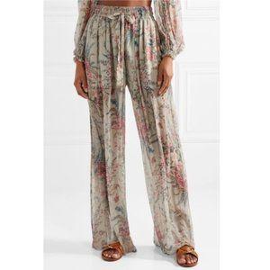 Zimmermann Bayou Shirred floral-print silk Pants